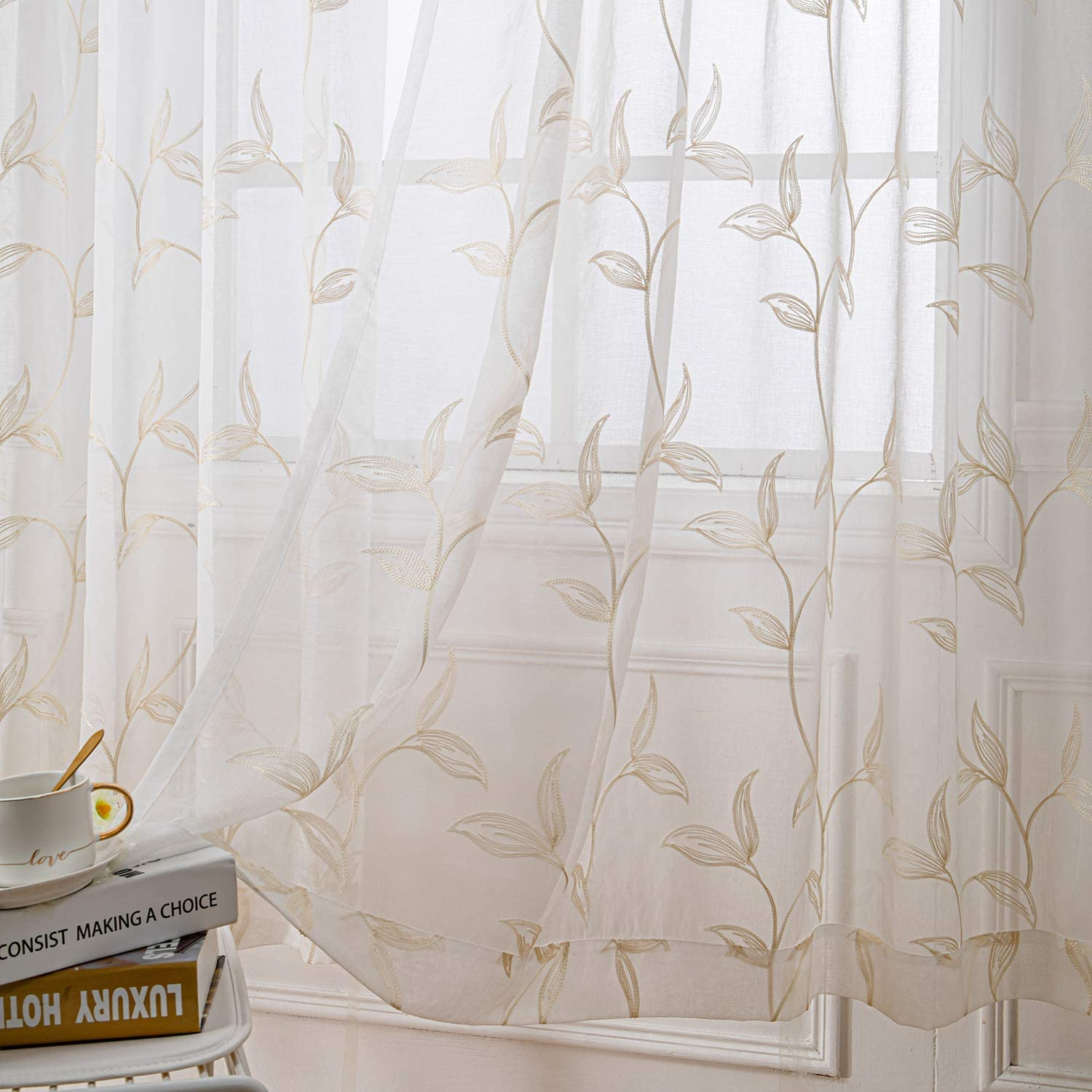 VISIONTEX White Sheer Curtains Voile Embroidered, Decor Cream Vine Leaves Embroidery Faux Linen Rod Pocket Window Drapes for Home Kitchen, Living Room and Bedroom 54 x 63 Inch, Set of 2 Curtain Panels