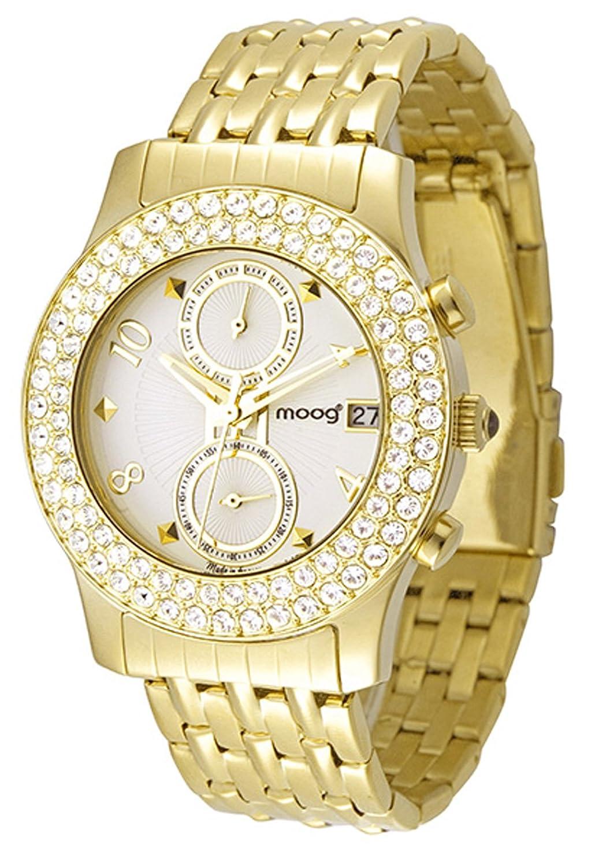 Moog Paris - Heritage - Damen Armbanduhr - weiß Ziffernblatt - Armband Gold aus Edelstahl - - in Frankreich hergestellt -