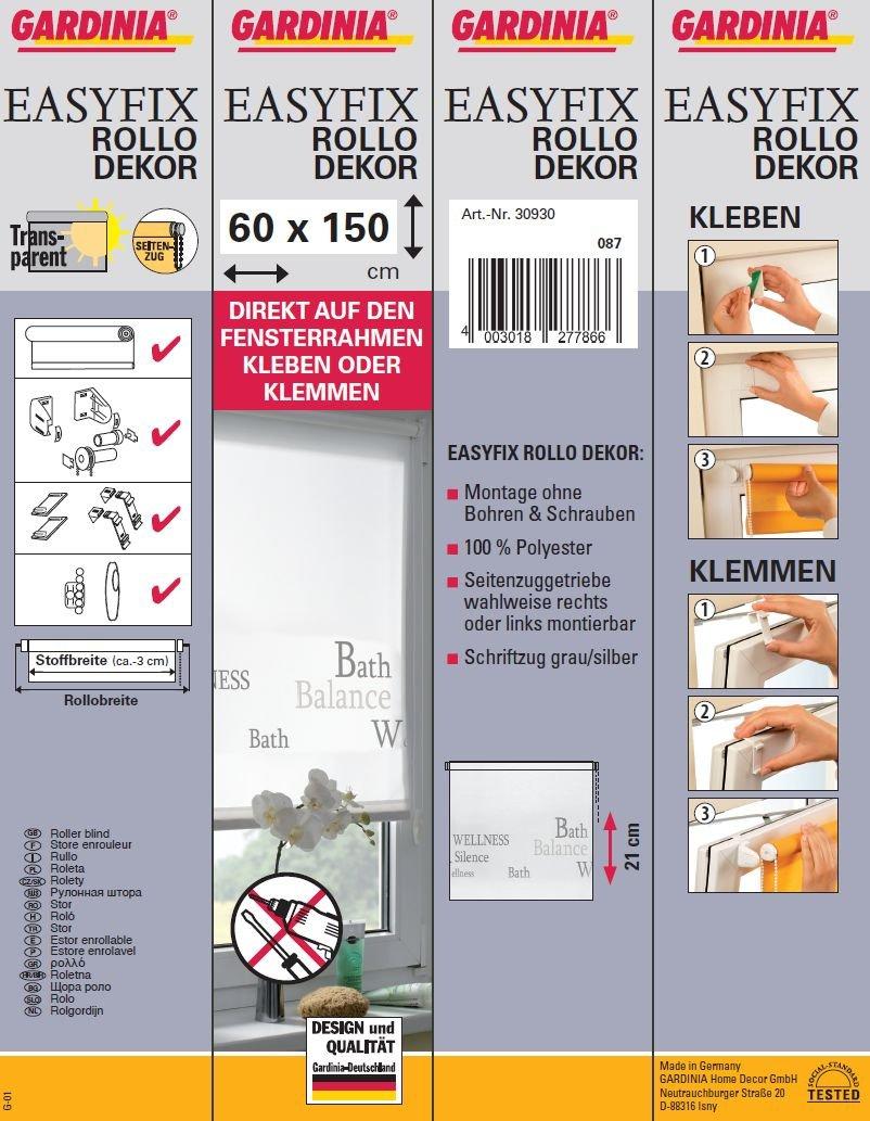 Amazon.de: Gardinia 30930 Easyfix Decor Rollo Mit Bath Schriftzug 60 X 150  Cm Zum Klemmen Und Kleben