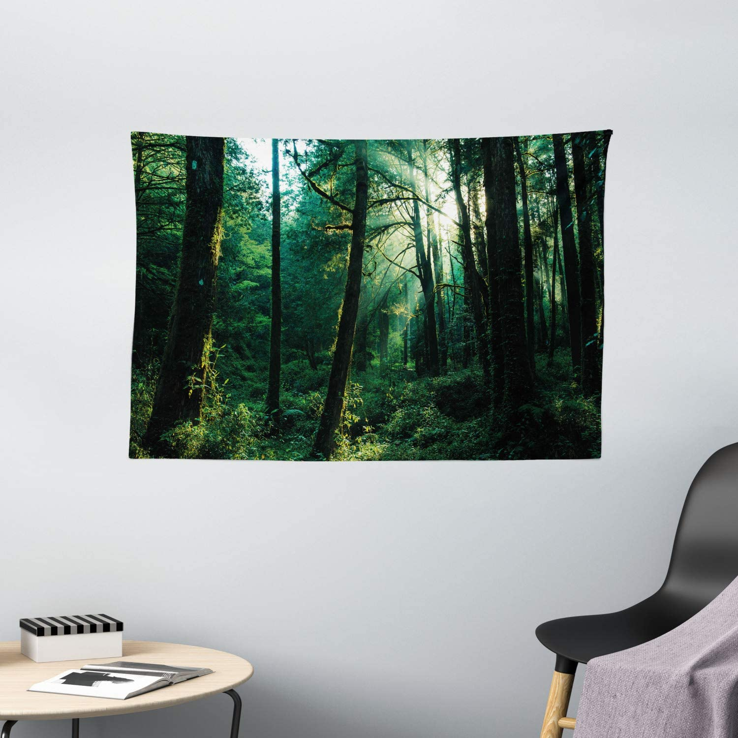 """Ambesonne Nature Tapestry, Sunset in Woods Sun Beaming Through Forest Trees Wilderness Scenery, Wide Wall Hanging for Bedroom Living Room Dorm, 60"""" X 40"""", Forrest Green"""