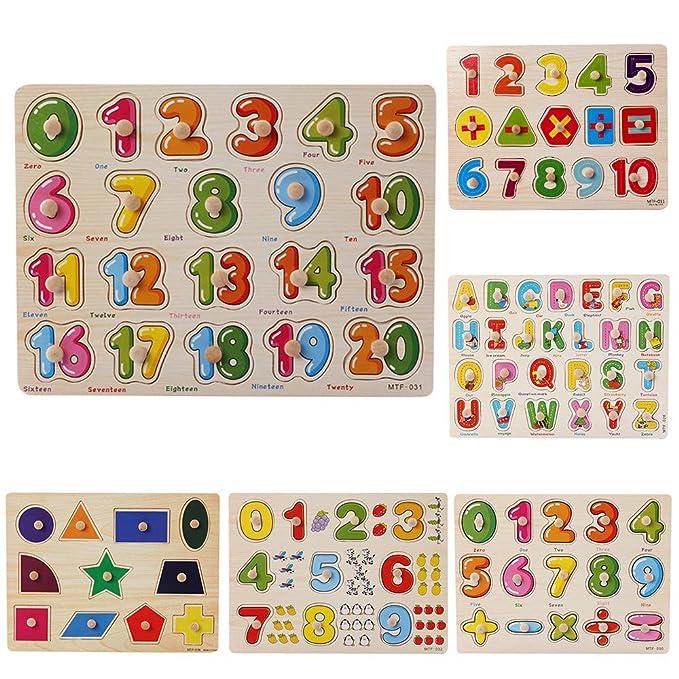 ALIKEEY Natale Giocattolo Educativi per Bambini Perline di Legno per Bambini Numero Puzzle Grafico Puzzle Giocattolo Educativo per Bambini