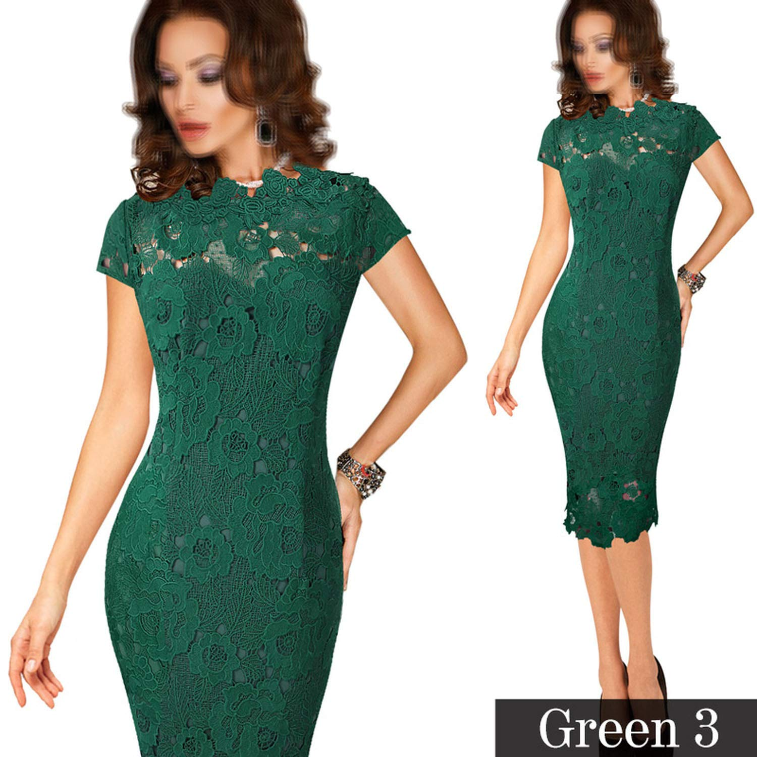 Green 3 TheUniqueHouse Womens Elegant Sexy Crochet Dress Hollow Out Pinup Party Special Occasion Sheath Fitted Vestido
