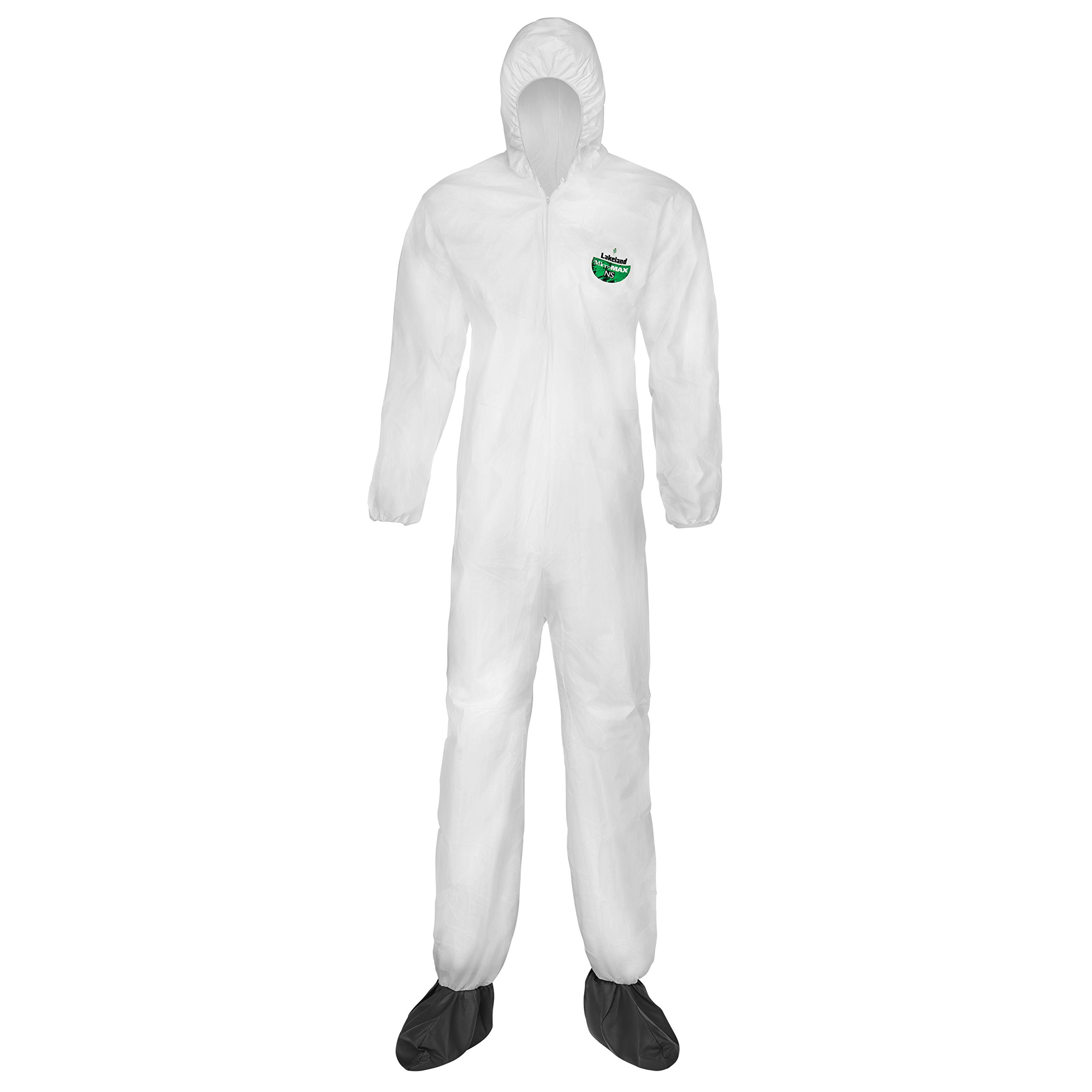 Lakeland MicroMax NS Microporous General Purpose Disposable Coverall with Boots, Elastic Cuff, Large, White (Case of 25)