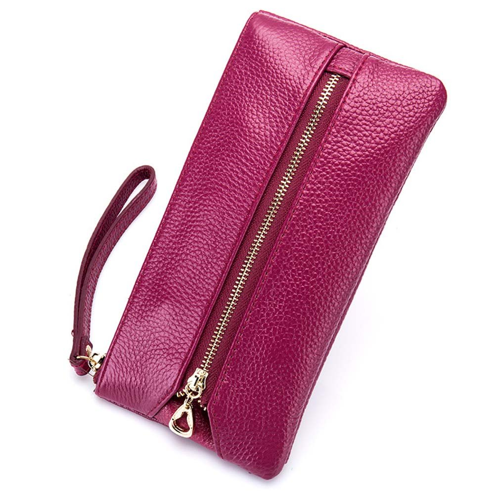 Women's Wristlet Key Holder Wallet Clutch Case for iPhone 7 6S 6 SE, Welegant Multi-Purpose Zipper Purse Pouch Handbag with Key Ring Hooks and Hand Strap (Long, Rose Purple)