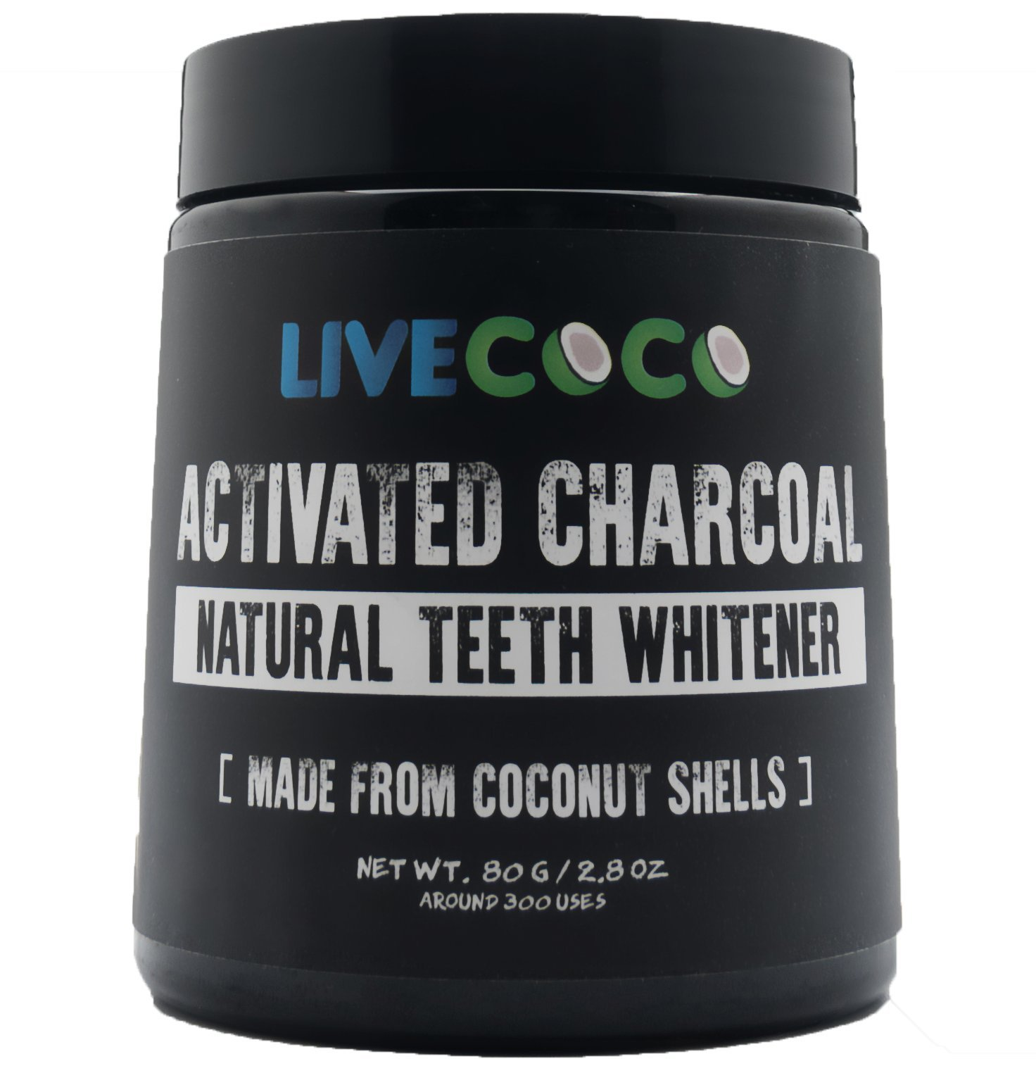 Activated Charcoal for Teeth Whitening, Natural Teeth Whitening using Coconut Shells, RAW & Food Grade with No Artificial Flavours, 100% Natural, Large Tub, 80g=300 Uses from LiveCoco product image