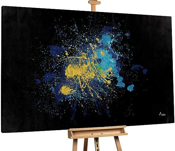 Kunstloft® Extraordinario Cuadro al óleo Explosion of Stars 180x120cm | Original Pintura XXL Pintado a Mano sobre Lienzo | Action Painting Azul Amarillo | Mural de Arte Moderno: Amazon.es: Hogar