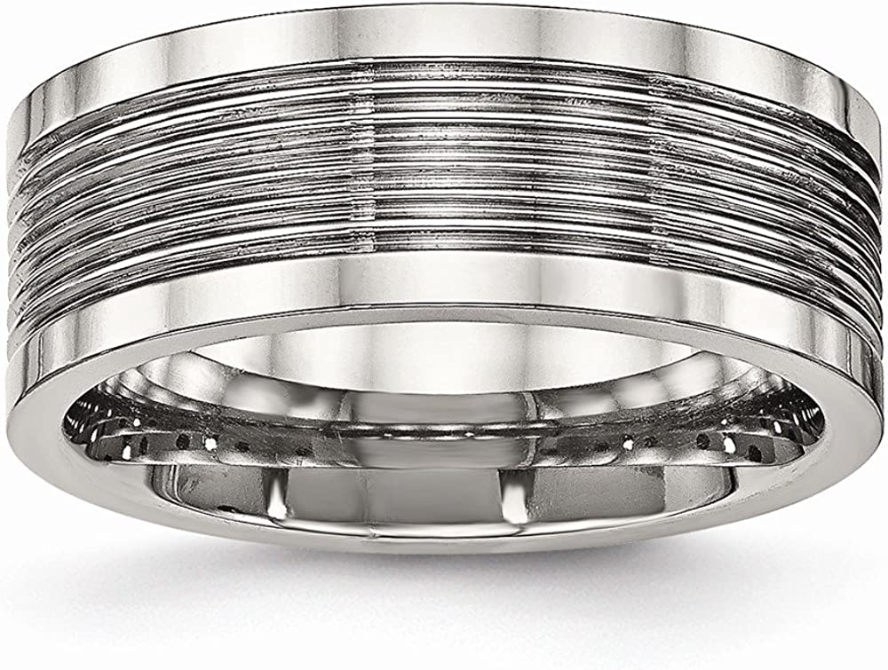 Stainless Steel Polished Grooved Comfort Back Ring Size 12.5 Length Width 8