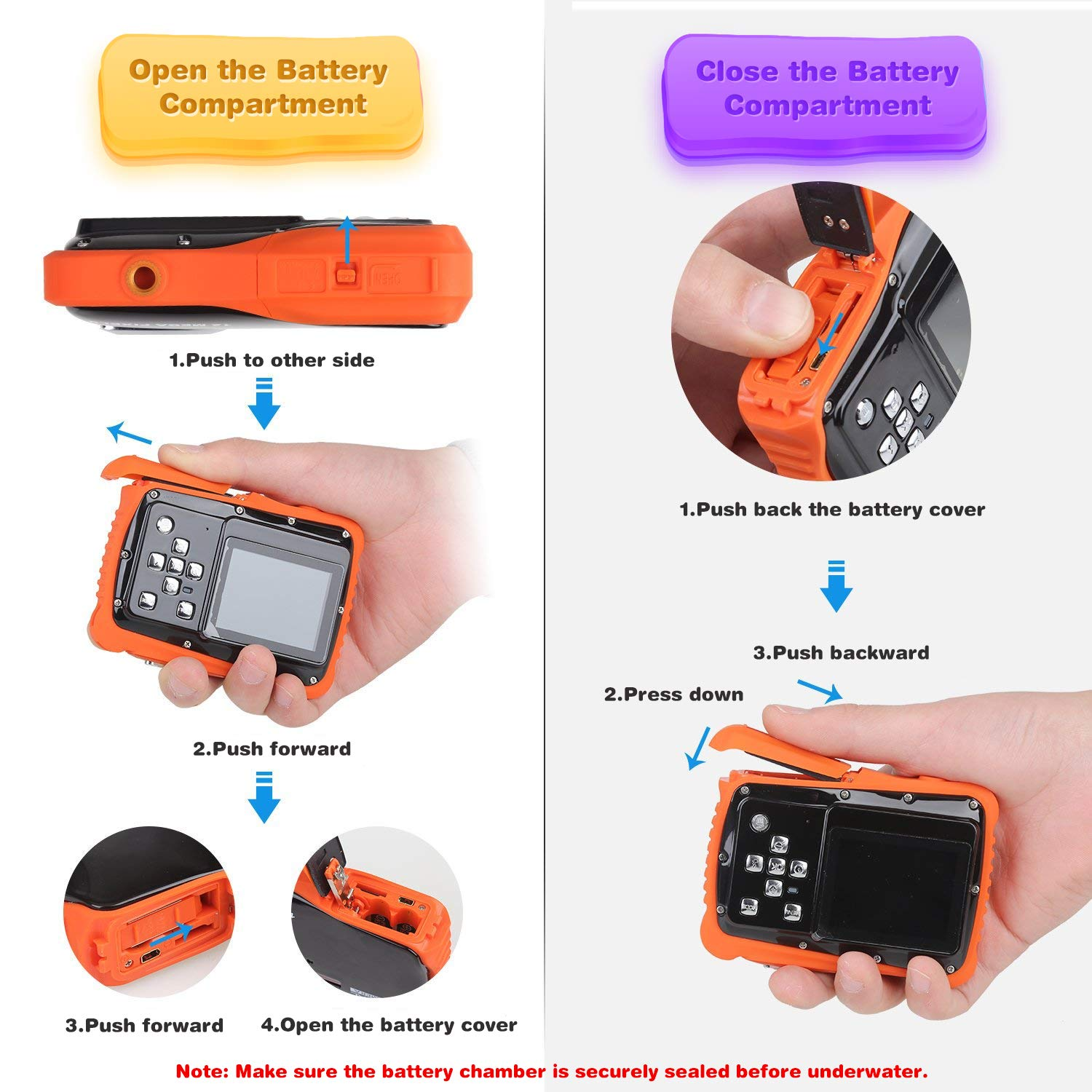 Kids Waterproof Camera Digital Camera for 4-10 Years Old Children, 12MP HD Underwater Action Camera Camcorder with 8X Digital Zoom, 2.0 Inch LCD Display, 16G Micro SD Card - Easy to Use (Orange) by tesha (Image #4)