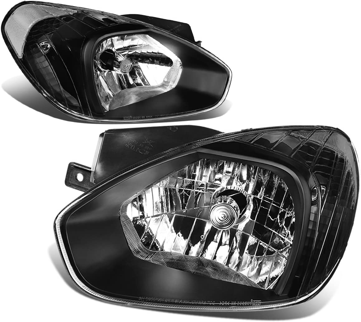 DNA Motoring HL-OH-048-BK-CL1 Pair of Headlight For 07-11 Accent
