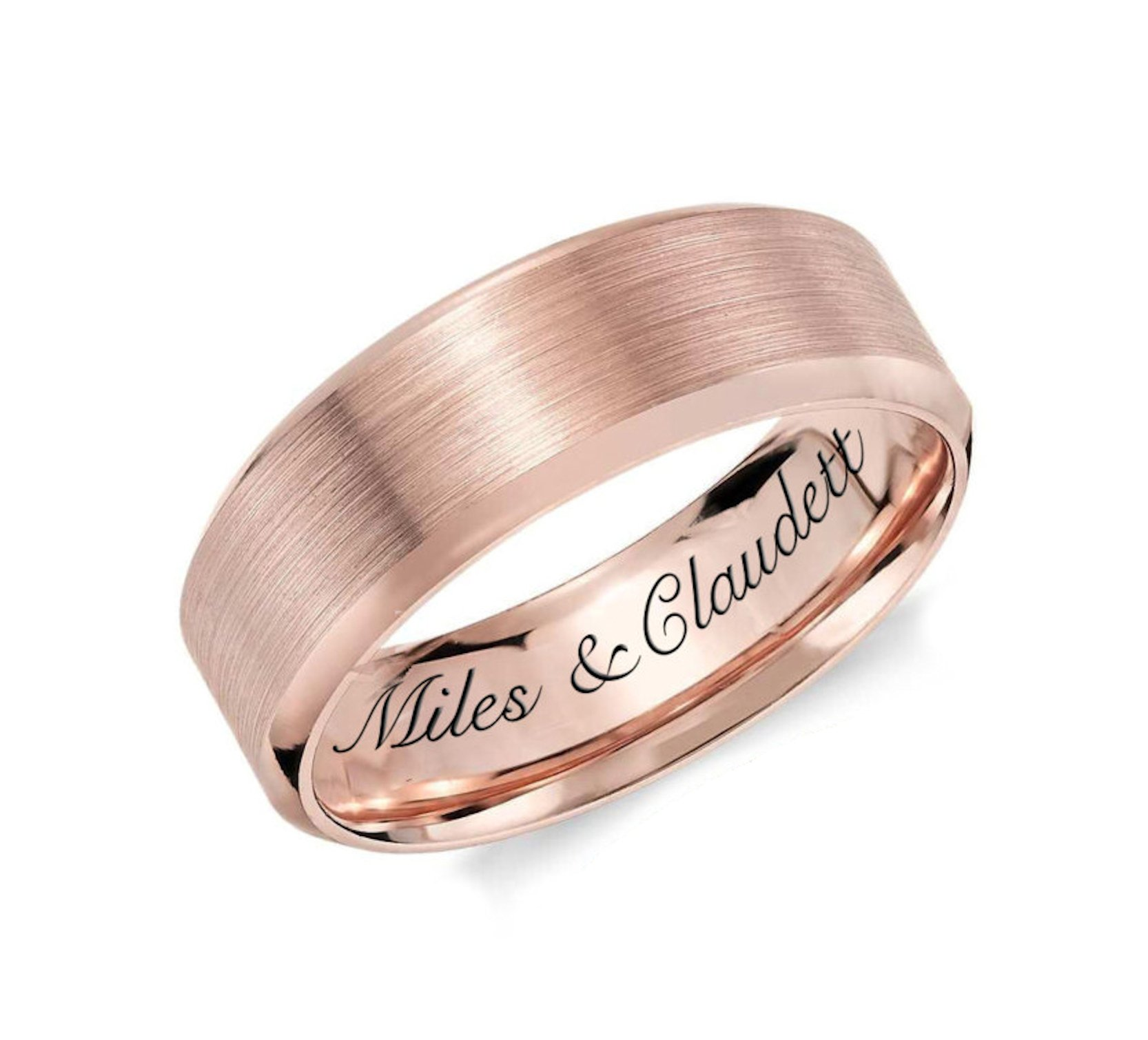 aandlengraving Personalized Women's Rose Gold Stainless Steel Promise Ring Custom Engraved Free