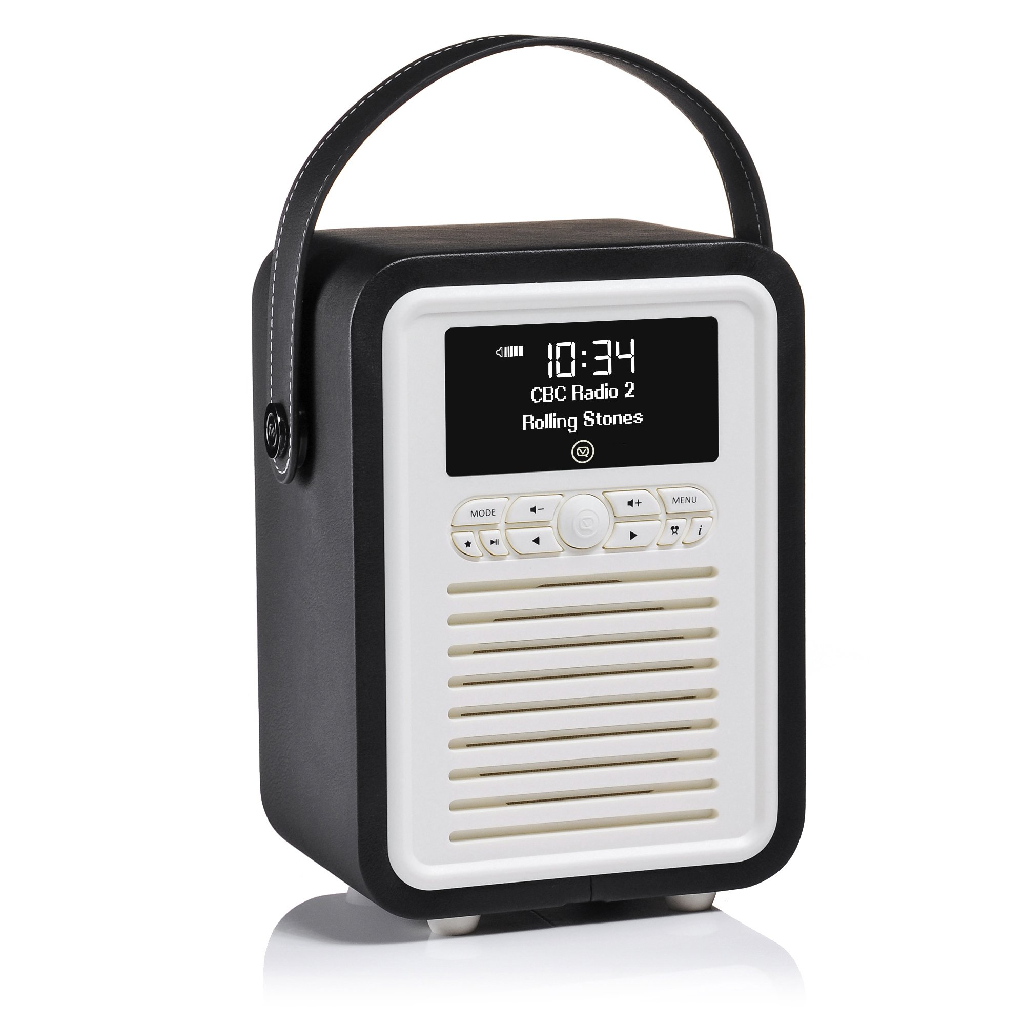 VQ | Retro Mini – Bluetooth Speaker and Digital Radio with FM & HD-FM, Dual Alarm Clock & Mains/Battery Powered - Black