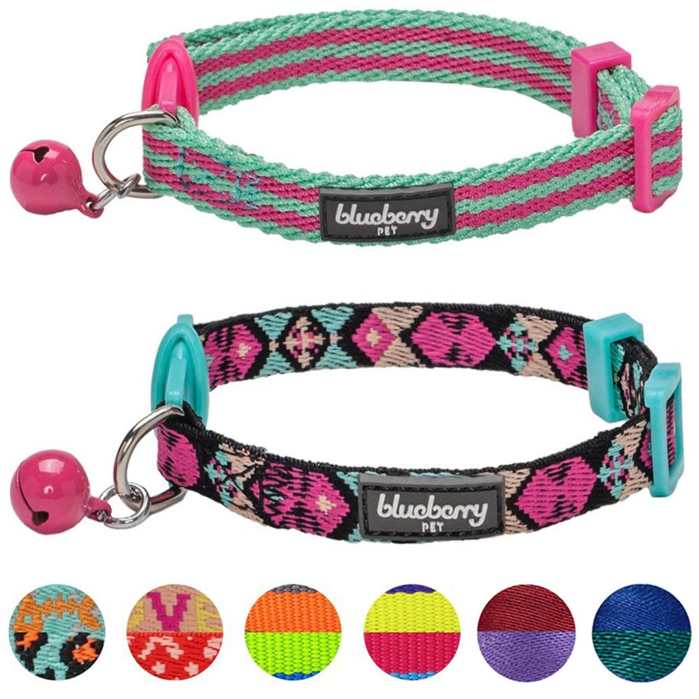 Blueberry Pet Pack of 2 Cat Collars, Geometric Design Adjustable Breakaway Cat Collar in Warm and Low-bright Colors with Bell, Neck 9''-13''
