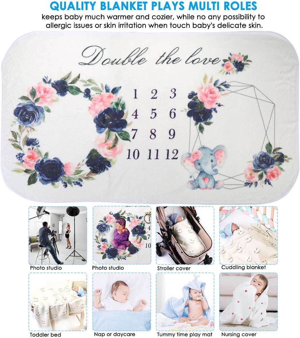 Ponacat coperta soffice stampa floreale foto sfondo souvenir gemelli bimbi 160x90cm