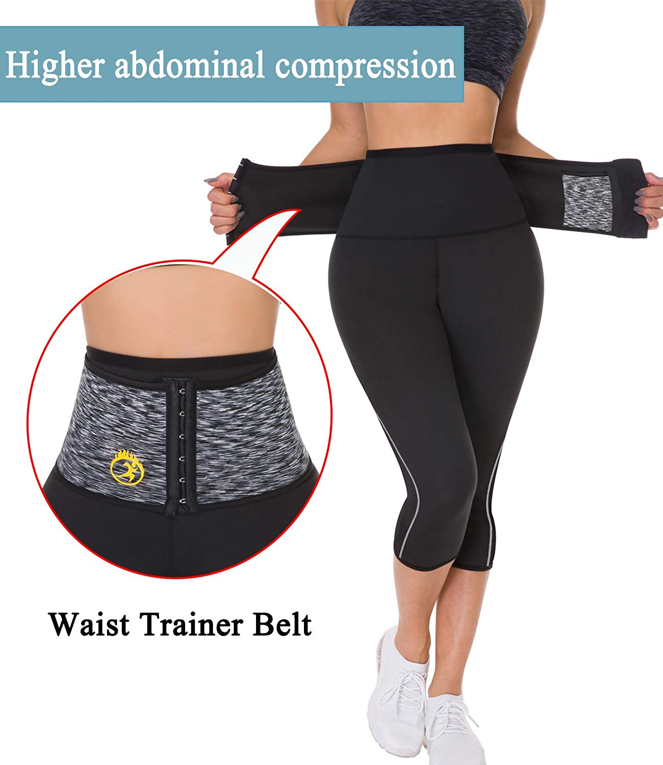 SEXYWG Women s Neoprene Sauna Slimming Pants Gym Workout Hot Thermo Sweat Sauna Capris Leggings Shapers for Weight Loss