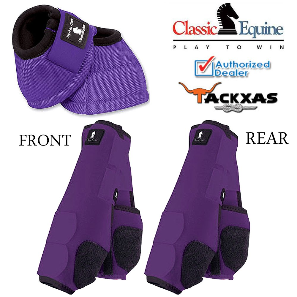 LARGE PURPLE CLASSIC EQUINE FRONT REAR LEGACY SPORTS HORSE NO TURN BELL BOOTS