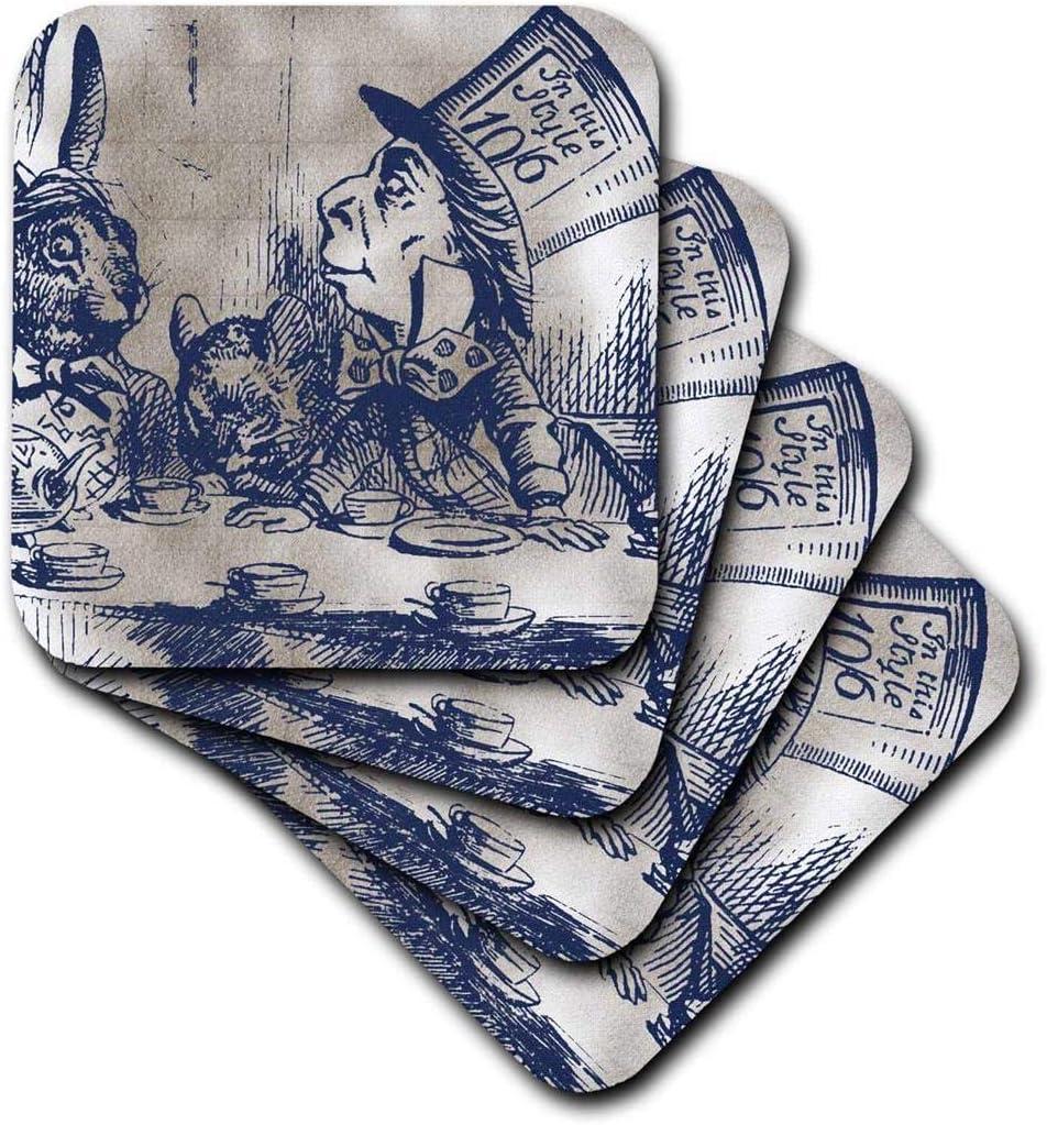 3dRose CST_110204_3 Mad Hatter Vintage Alice in Wonderland Tea Party-Ceramic Tile Coasters, Set of 4