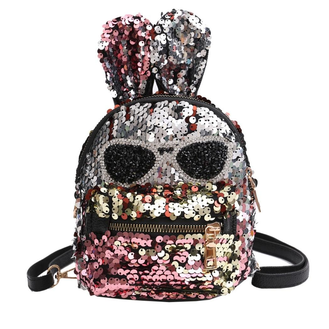 Promotion Shoulder Bag, Rakkiss Girls Sequins Student School Bag Children Travel Backpacks Double Shoulder Bag Leather Backpack