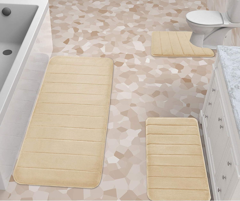 Yimobra 1111 Pieces Memory Foam Bath Mat Sets, 1111.11x11 111111.11x111.11 and U-Shaped  for Bathroom Rugs, Toilet Mats, Non-Slip, Soft Comfortable, Water