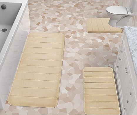 80cm Ocamo 3-Piece Traditional Washable Bathroom Rug Set Non-Slip O-Shape Toilet Cover U-Shape Mat Rectangle Carpet Household Decoration Red 50