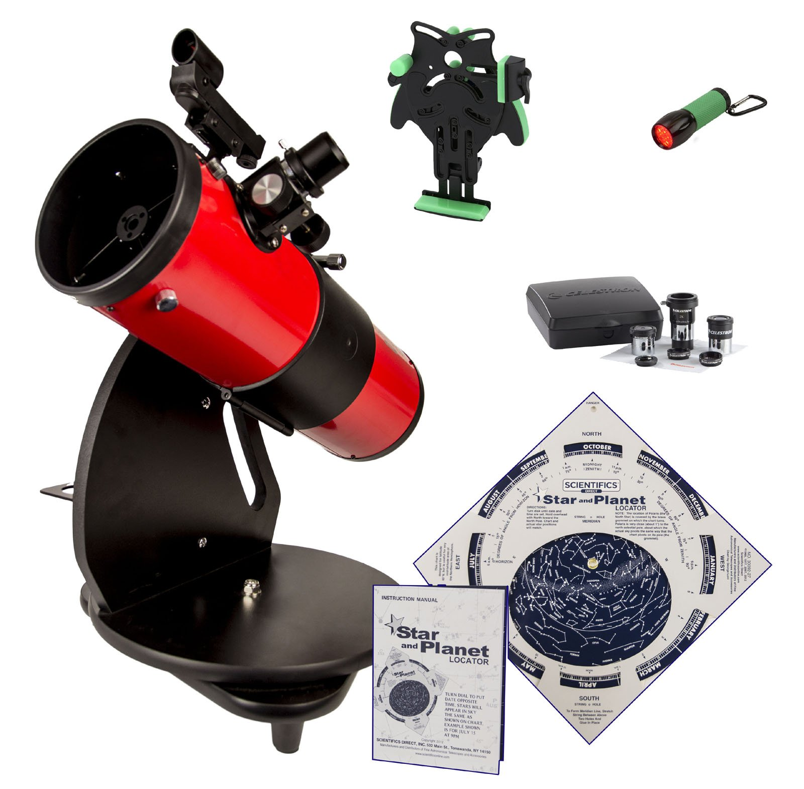 Astroscan Millennium Dobsonian Reflector Portable Telescope with Azimuth Mount, Star and Planet Locator - Deluxe Kit by Scientifics Direct