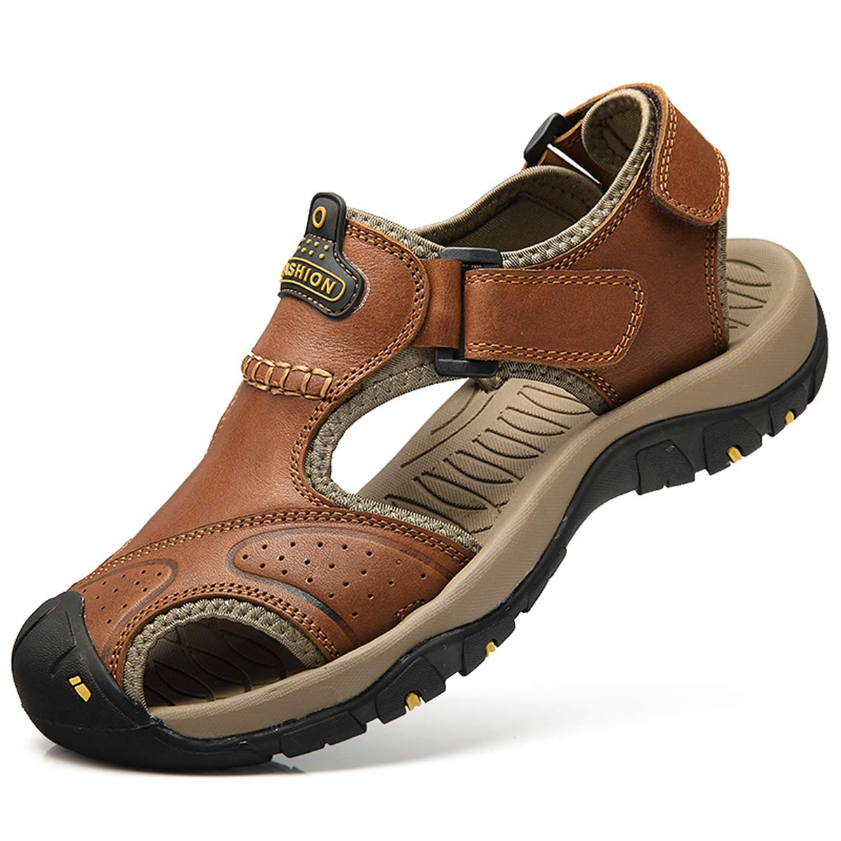 bo li xuan Sandals for Men Leather Closed Toe Sandles Men's Athletic Sports Hiking Fisherman Walking Strap Shoes Brown by bo li xuan