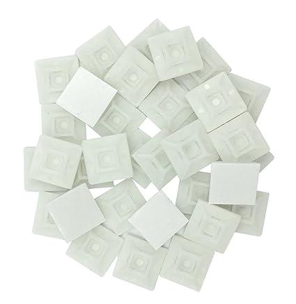 intervisio Juego Soportes Adhesivos para Bridas de Cable 19 mm x 19mm/Clips Adhesivo para