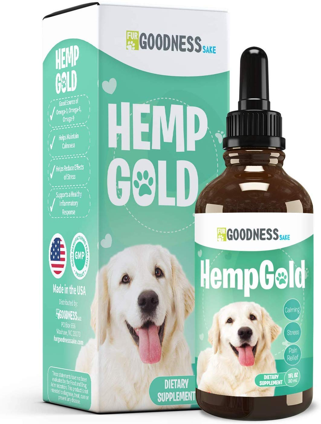 Fur Goodness Sake Hemp Oil for Dogs - Organic Remedy for Dog Anxiety Relief, Cat Calming and Joint Pain Relief - Grown in USA, Third Party Tested, Hemp Oil for Dogs & Cats by Fur Goodness Sake