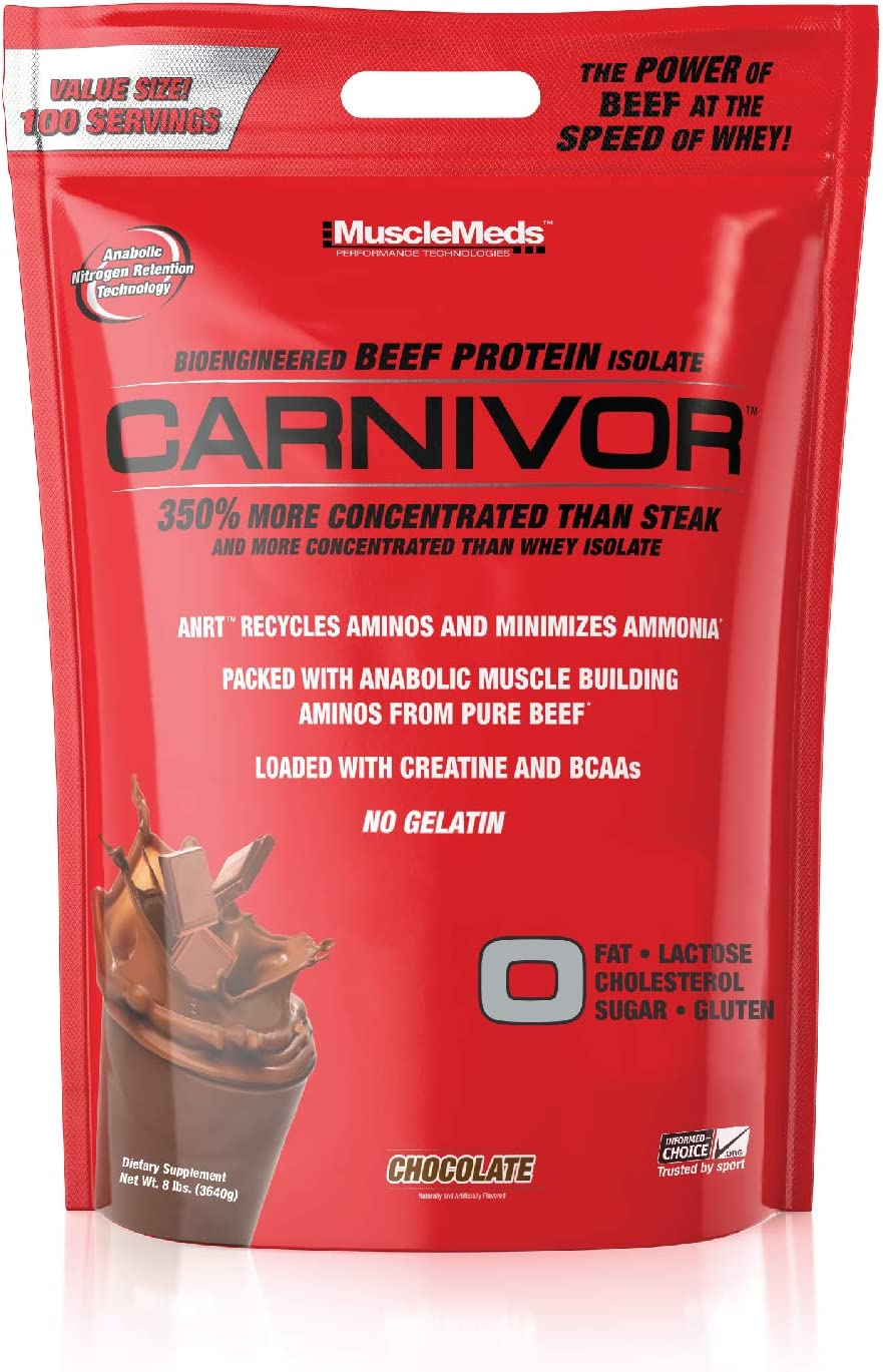 MuscleMeds Carnivor Beef Protein Isolate Powder, Chocolate, 8 Pound, 128 oz