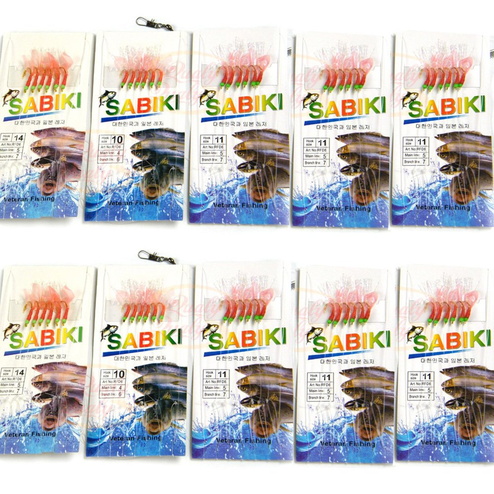 10confezioni di massa rosso pesce di acqua salata acqua dolce Sabiki Rig esche da pesca con ganci girevoli e scatta Lure set kit # 10to # 20 QualyQualy