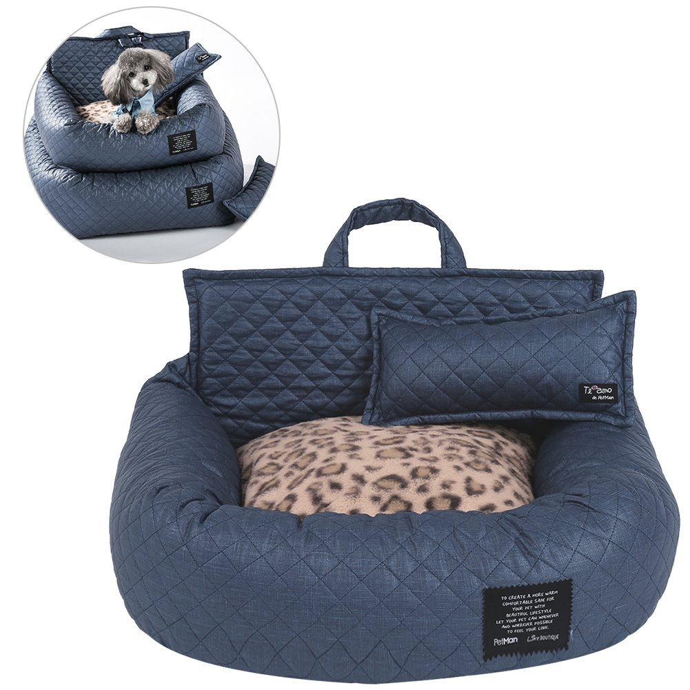 Petacc Pet Bed Foldable In-vehicle Pet Lounge Ultra Soft Pet Sofa with Blanket, Pillow and Bed