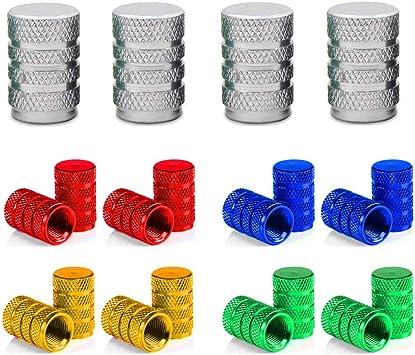 Senven 20 Pcs Hochwertige Farbe Aluminium Ventilkappen Reifenventil Staubkappen Auto Motorrad Lkw Fahrrad Verhindern Luftleckage Universal Reifenventilkappen Aluminiumlegierung Baumarkt