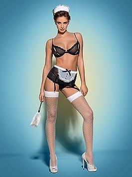 Obsessive Costume Sexy De Femme De Chambre Servante Avec Porte - Porte jarretelle sexy
