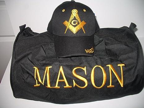 Image Unavailable. Image not available for. Color  Black Mason Freemasons  Freemason Utility Duffle Sports Travel Bag Hat Gift Set 56d37b02d959