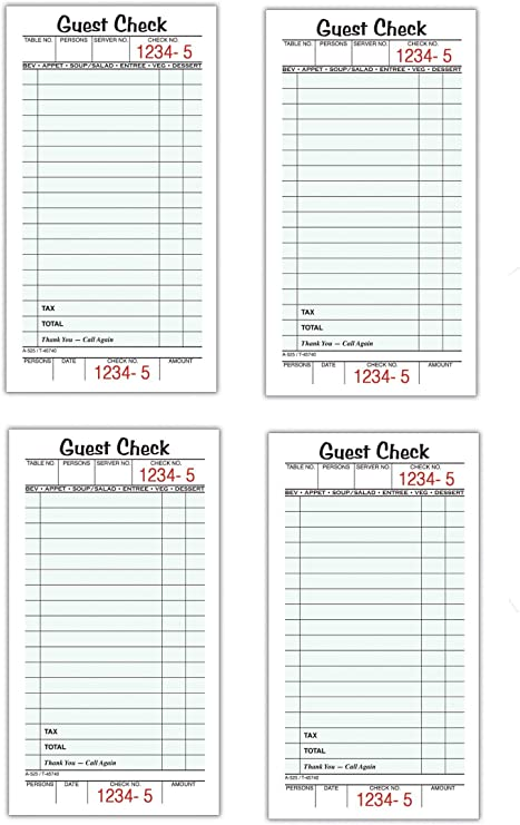Guest Check Pad Receipt Restaurant Order Form Single Part Perforated Business