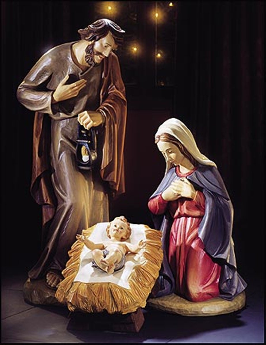 Three Piece Fiberglass Holy Family Christmas Nativity Statue Set, 40 Inch