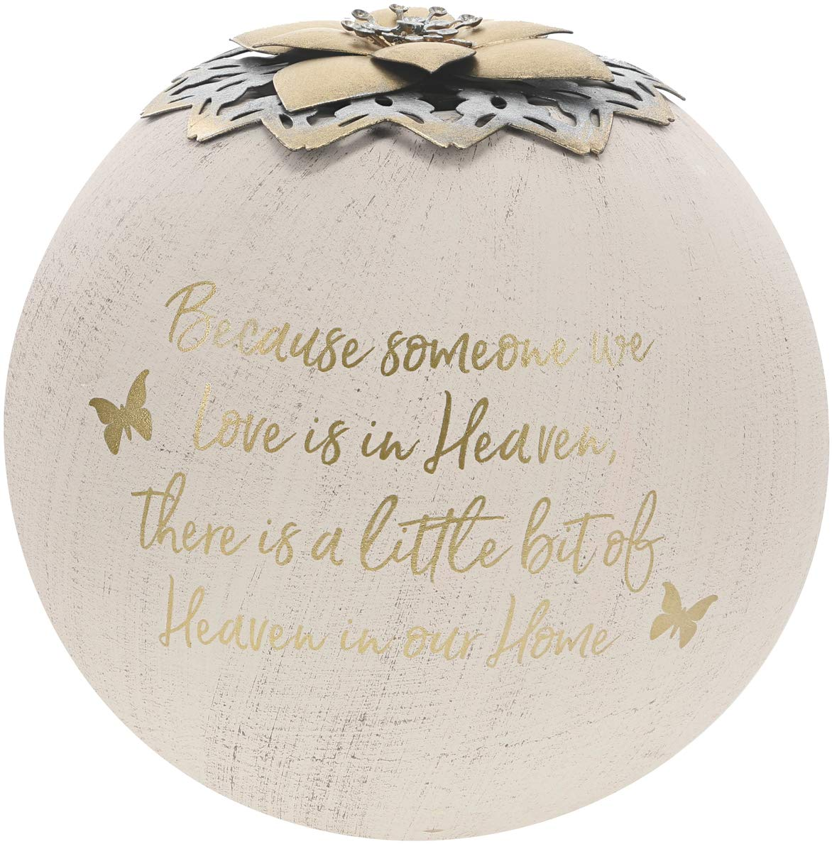 Little Bit of Heaven in Our Home 5.5 Inch Gold Pavilion Gift Company Round 5 Inch Tealight Candle Holder Because Someone We Love