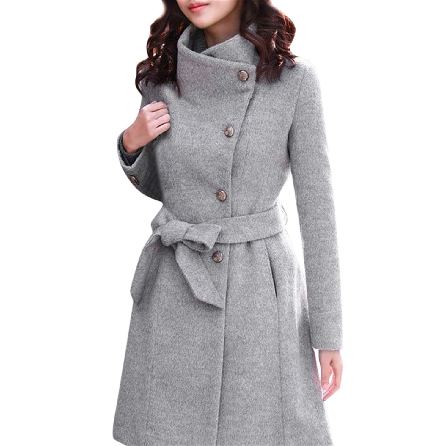 Amazon.com: Avory Winter Lapel Wool Coat Trench Jacket Long Sleeve Overcoat Outwear Oversize Long Gray Trench Coat Mujer: Clothing