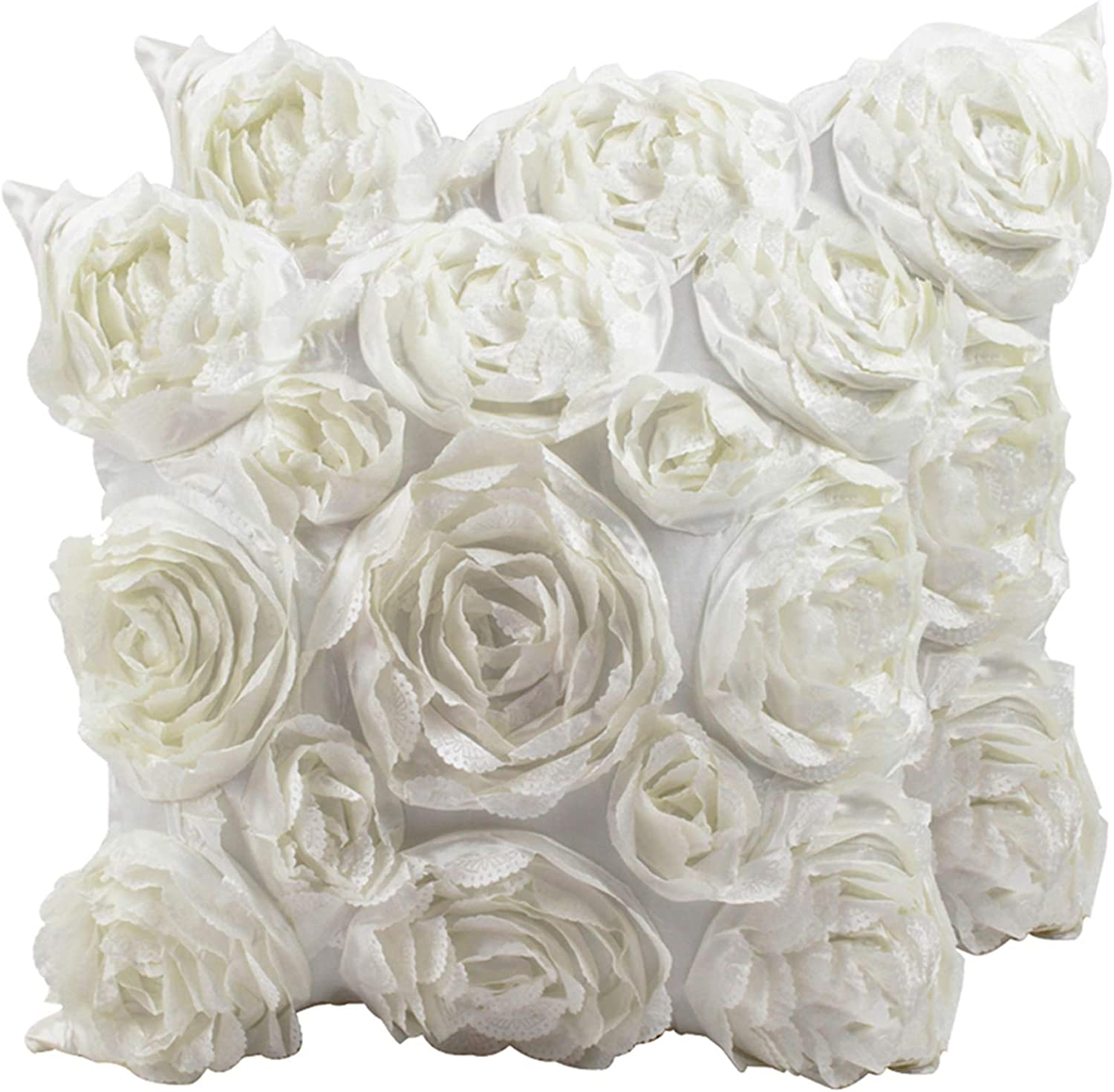 SeptCity Decorative Throw Pillow Covers for Couch Cushion Case, Romantic Love Satin Rose Wedding Party Home Decor, Home Gift (Set of 2) (Ivory White)