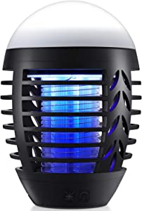 Bug Zapper Mosquito Killer Fly Trap Mosquito Attractant Trap with Camping Lamp for Outdoor and Indoor, Cordless Zapper with Hook, Hangable