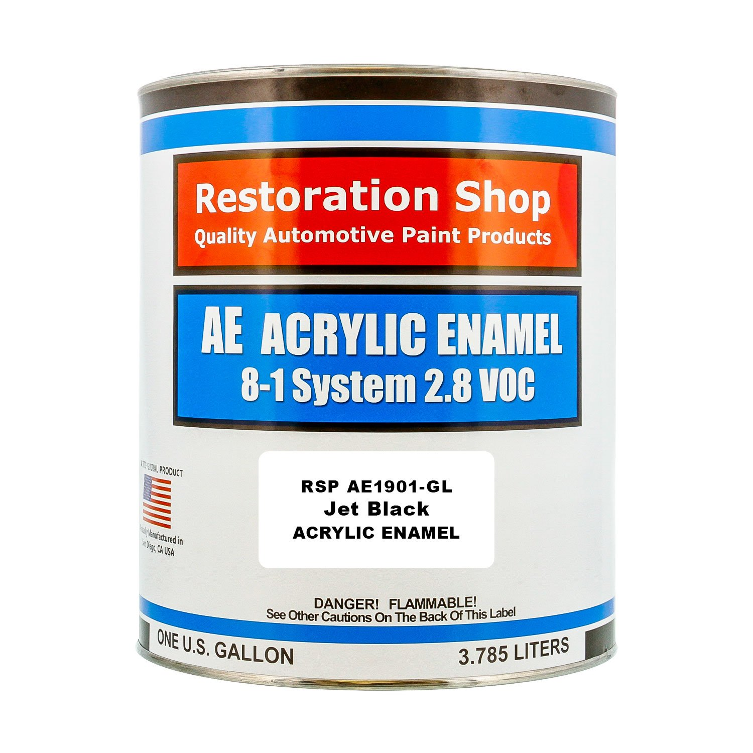 Restoration Shop - Gallon ONLY - Jet Black Enamel Acrylic Enamel Single Stage Car Auto Paint