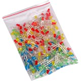 Gaoxing Tech. 250pcs (5 colors x 50pcs) 3mm LED Light Emitting Diode Lamp Diffused Assorted Kit ( White Red Green Blue Yellow)