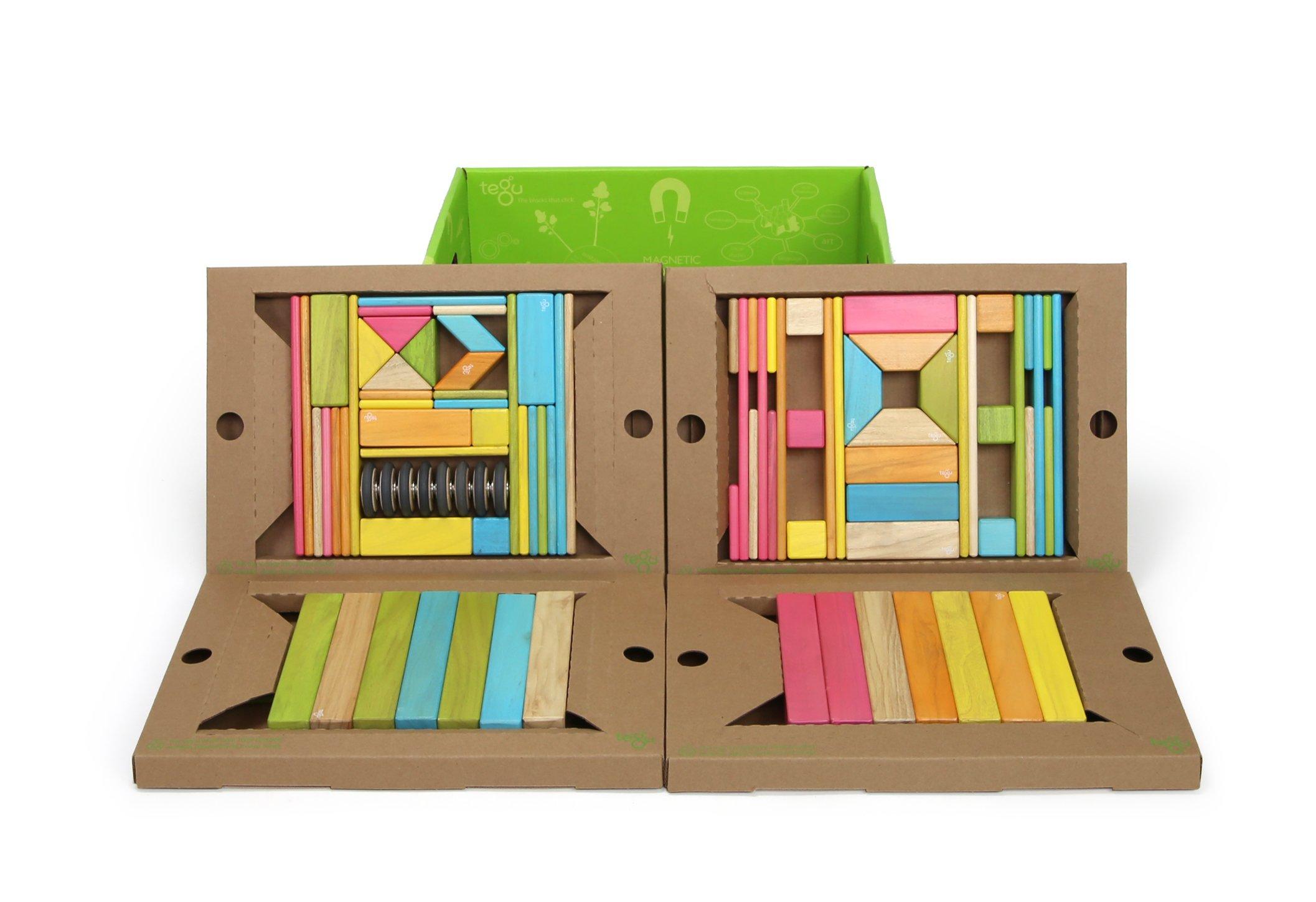 90 Piece Tegu Classroom Magnetic Wooden Block Set, Tints by Tegu (Image #3)