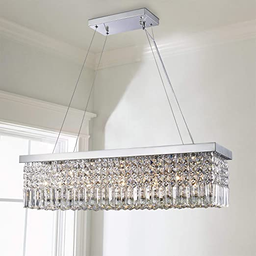 Saint Mossi 5-Lights K9 Crystal Chandelier Modern Chandelier in Raindrop Chandelier Design,Modern Flush Mount Ceiling Light Fixture,Crystal Pendant Light Fixture,H9
