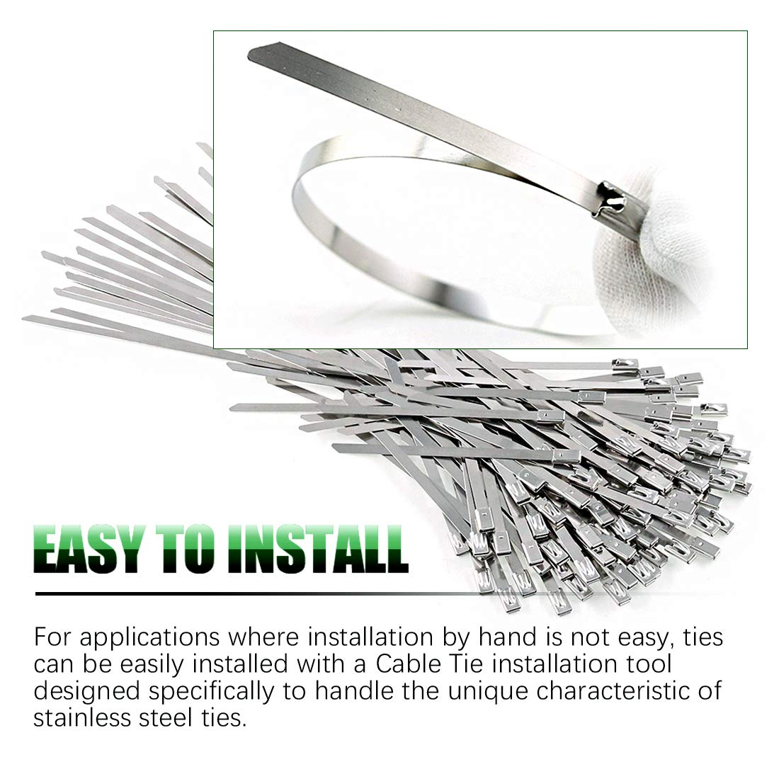 4//5.9//8//11.8 Inches Metal Cable Zip Ties Keadic 30Pcs 304 Stainless Steel Zip Ties Exhaust Wrap Coated Locking
