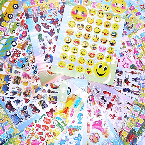 12 Scrapbooking Stickers - Adam Victor™ Kids Sticker, Large Size 3D Cartoon Puffy Stickers for Children Scrapbooking,12 Sheets,Including Car, Spider-Men, Mickey, Barbie Princesse, Minion, Big Hero 6 Robot Baymax and More!