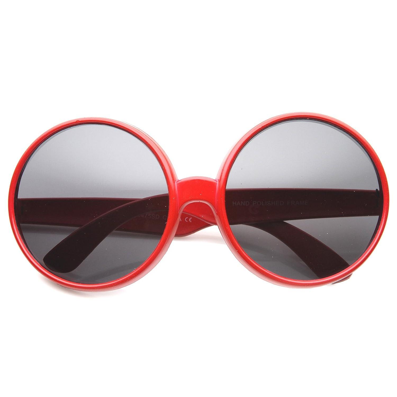 0aa4540f1a183 Amazon.com  Women s Oversize Mod Fashion Colorful Circular Large Round  Sunglasses 65mm (Black Smoke)  Clothing