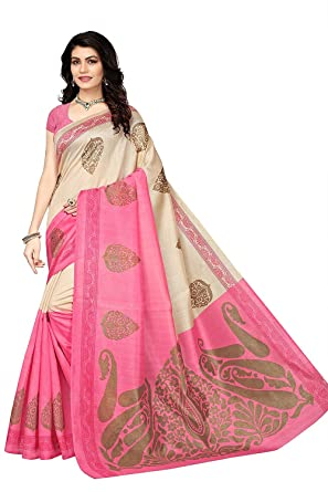 67a2753ab3 Fabwomen Silk Saree with Blouse Piece (Fab1121_Beige_Free Size). Roll over  image to zoom in