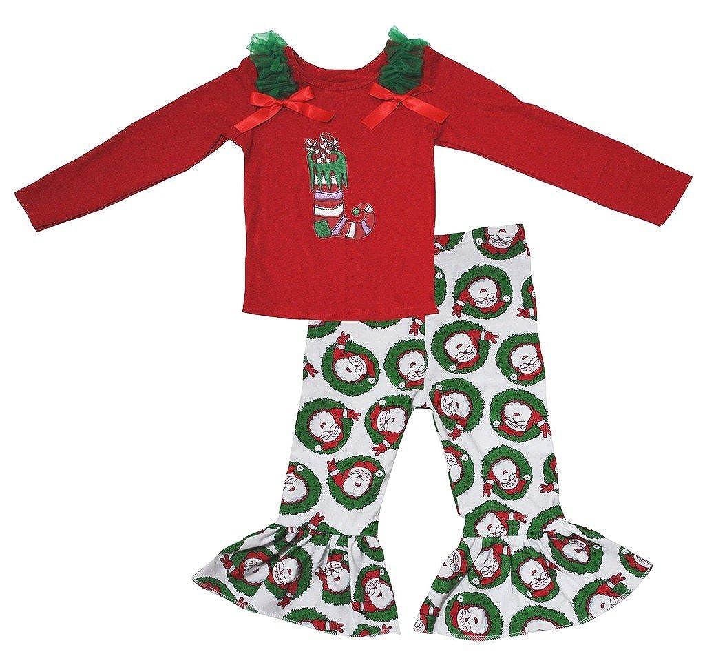 Petitebella Xmas Sock Red L//s Cotton Shirt Santa Claus Pant Set for Girl 1-8y