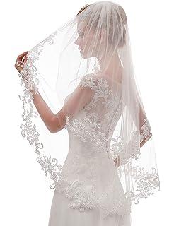 659e618320d8 EllieHouse Women s Short 2 Tier Lace Wedding Bridal Veil With Comb L24
