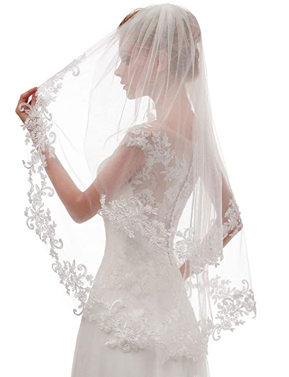 e0318a51 EllieHouse Women's Short 2 Tier Lace Wedding Bridal Veil With Comb L24